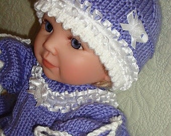Exclusive Hand Knitted Baby Dress Set... Dress Booties and Hat...Purple and White...Elegant...Baby Fashion...Pretty...Unique...Gift Idea...