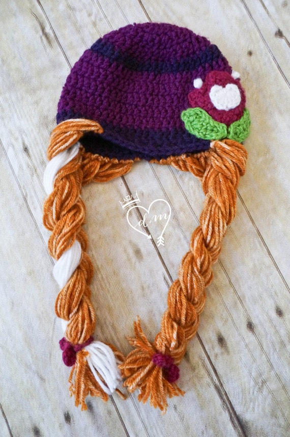 Frozen inspired princess anna crochet beanie hat with braids purple