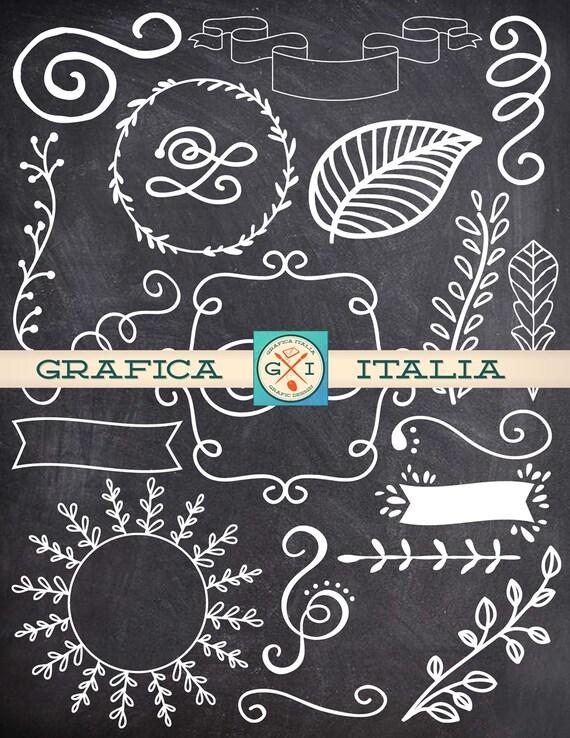 Chalk Doodle Scrolls, Ribbons, Decoration Clipart Graphics