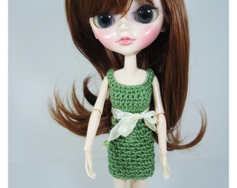 Clothes for Tangkou dolls, custom crochet dress with belt