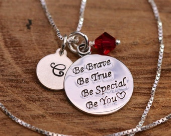 Sterling Silver Personalised Inspirational Text Round Pendant Necklace+Birthstone Swarovski Crystal&Initial Tag Birthday Gift with Box