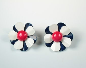 Red, White and Blue Flower Earrings