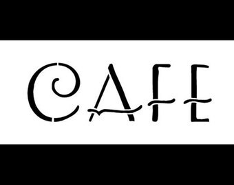 "Cafe Art Deco - Word Stencil - 9"" X 4"" - STCL330 - by StudioR12"