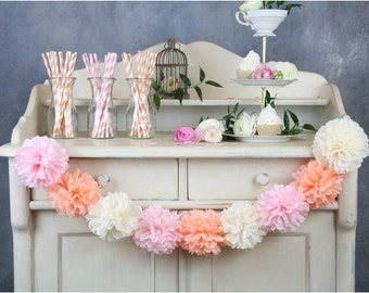 Tissue Flowers GARLAND - Pom Poms Garland - Party decoration - Nursery Decorations - Paper Pom Poms - Wedding set - Birthday decorations