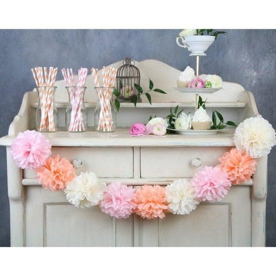 tissue flowers garland pom poms garland party decoration. Black Bedroom Furniture Sets. Home Design Ideas