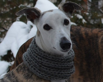 Whippet Clothing - Whippet Cowl Grey - Dog Cowl - Dog Snood - Dog Hoodie - Dog Accessories - Greyhound Clothing - Greyhound Cowl - Dog Scarf