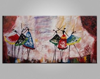 Large Painting, Ballet Dancer Painting, Canvas Art, Framed Art, Abstract Art, Large Art, Canvas Wall Art, Abstract Painting, Livingroom Art