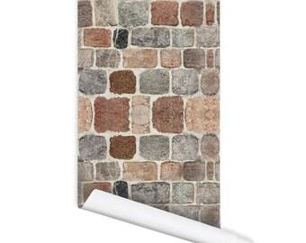 Carta da parati tessuto riposizionabili pietra parete modello for Stoffa da parati