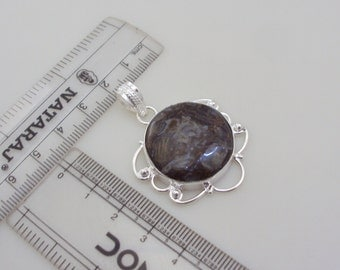 WOOD JASPER Stone .925 Silver Handmade Pendant
