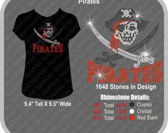 Pirates Rhinestone T-Shirt, Tank or Hoodie