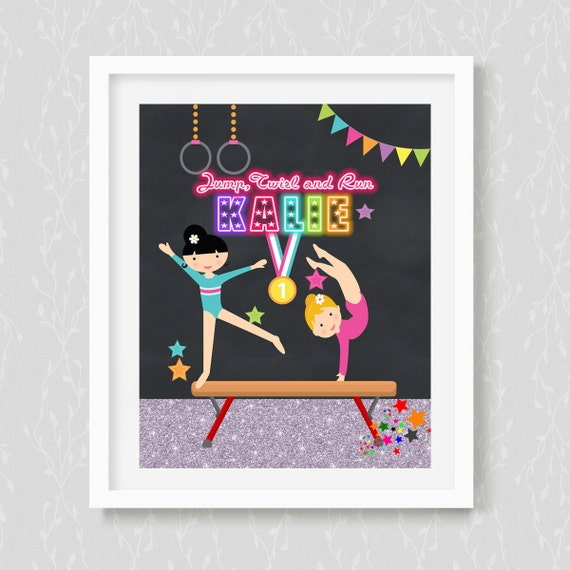 Etsy Personalized Wall Decor : Gymnastic wall art personalized customizedchalkboard neon