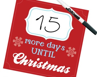 CHRISTMAS COUNTDOWN - More days until Christmas in Red - Dry Erase by Graphics Mesh