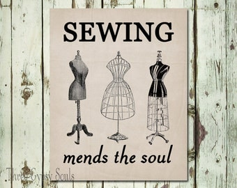 PRINTABLE ART Sewing Mends the Soul Wall Art Sewing Wall Decor Sewing Wall Art Sewing Room Decor