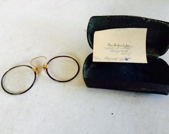 Vintage Pince Nez eyeglasses with case