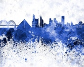 Memphis skyline in watercolor on white, 8 monochrome colors, and full color - SKU 0437