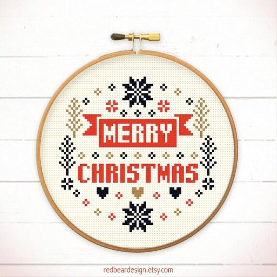 Christmas cross stitch pattern merry merry christmas cross stitch