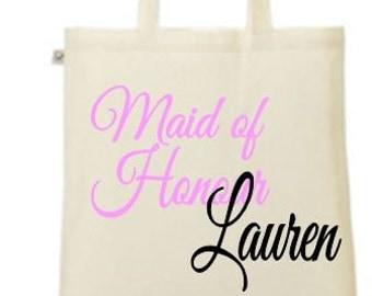 Personalised Maid of Honour- your name and date printed tote/shopper bag - wedding/married/hen night/hen party