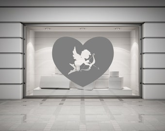 Cupid & Heart Valentines Wall/Window Decal Sticker. Any colour and size.