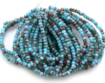 Turquoise Blue opaque w/ Red transparent tiny 2 x 3mm rondelles. Set of 50 or 100.