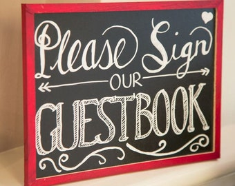 Wedding Guest Book Sign - Vintage Chalk Board