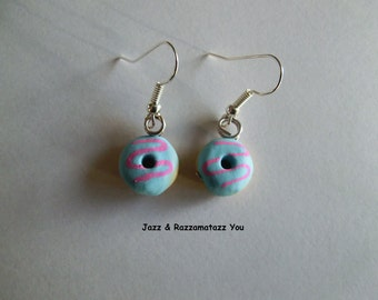 Handcrafted Fimo Green/Blue Donut/Doughring Earrings