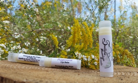 Southern Mountain Scents All Natural Peppermint Beeswax Lip Balm Pack of 3