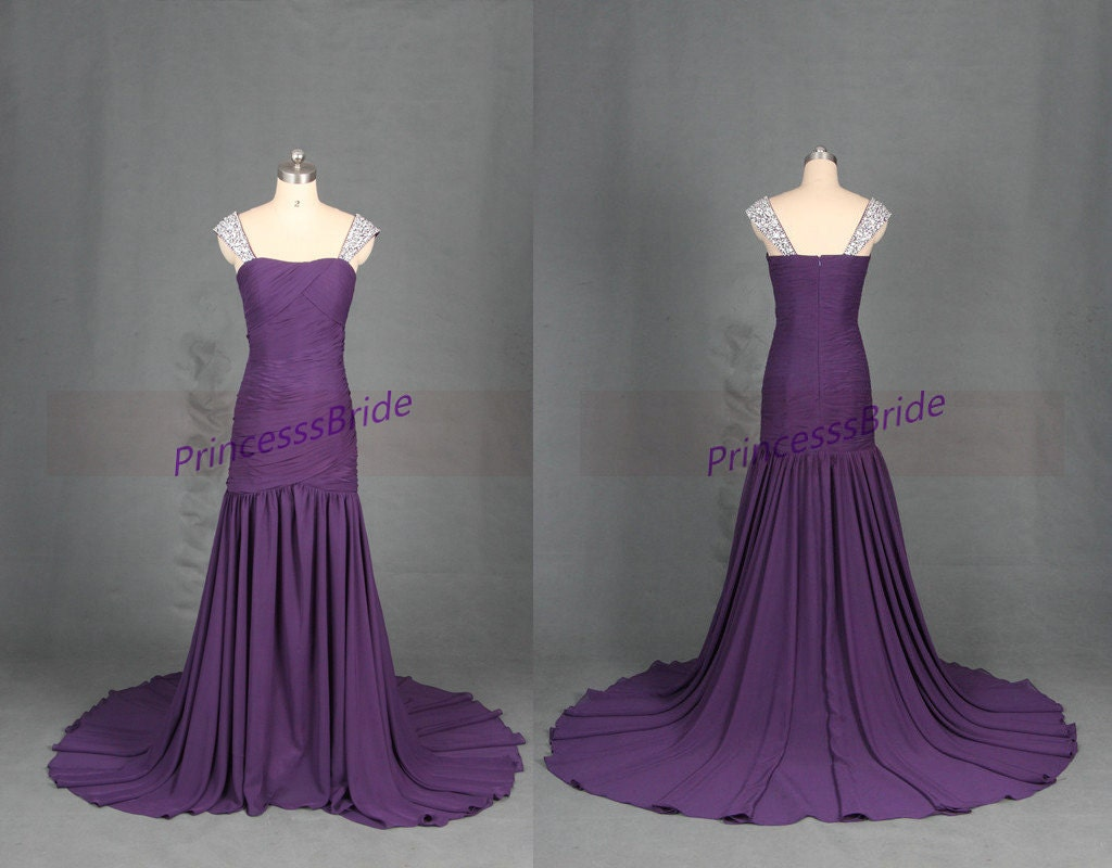 Floor length eggplant chiffon prom gowns with