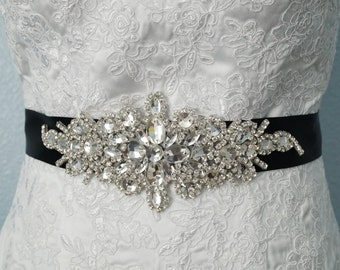 Wedding Belt, Bridal Belt, Bridal Sash Belt, Crystal Rhinestone Belt, Style 135