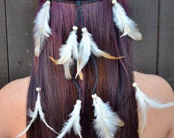 Feather Headband  - Festival Headband - Hippie Headband - Tan Feathers -  Hair Accessories - Bohemian - Boho - Tribal