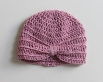 Handmade Crochet Baby Turban Style Hat in Pale Rose Made to order, Many Colours Available, great photo prop! Baby Gift, Baby Showers