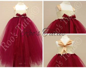 deep red , burgandy tutu dress.Party, flowergirl, bridesmaid, christmas princess