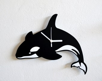 Whale Orca Silhouette  - Wall Clock