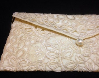Champagne Lace Clutch Purse (with zipper), Envelope Clutch Purse, Philippines Cutwork Embroidery Clutch, Bridal Clutch Purse, Wedding Clutch
