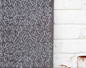 Pistachios in Charcoal : Hand-printed Fabric Panel