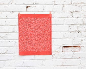 Pistachios in Coral : Hand-printed Fabric Panel