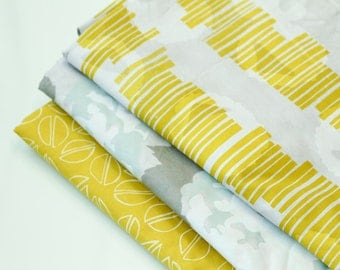 Grey, Mint, and Citron Bundle : Hand-printed Fabric Panel Bundle
