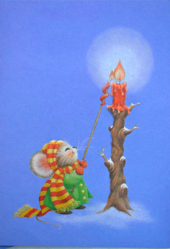 Carte de Noël Vintage - souris et bougie - Hallmark inutilisés