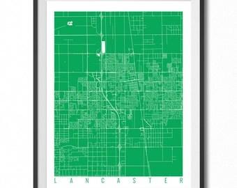 LANCASTER Map Art Print / California Poster / Lancaster Wall Art Decor / Choose Size and Color