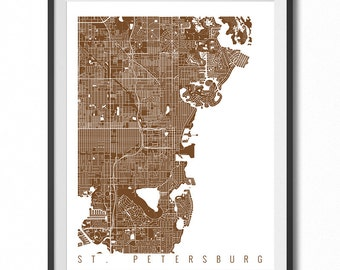 ST. PETERSBURG Map Art Print / Florida Poster / St. Petersburg Wall Art Decor / Choose Size and Color