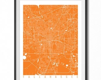 TALLAHASSEE Map Art Print / Florida Poster / Tallahassee Wall Art Decor / Choose Size and Color