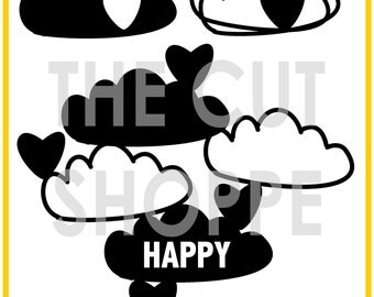 The Happy Little Clouds cut file consists of 3 cloud icons, that can be used on your scrapbooking and papercrafting projects.