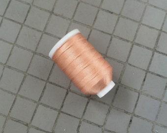 Vintage Gudebrod/Utica Silk Thread Spool, Peach Pink, Size F, 185 Yards