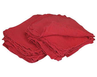 "SHOP TOWELS 25 Pack Soft All COTTON Weave 14"" x 13"" Red shop towels are made with durable absorbent 100% cotton Machine washable Soft"