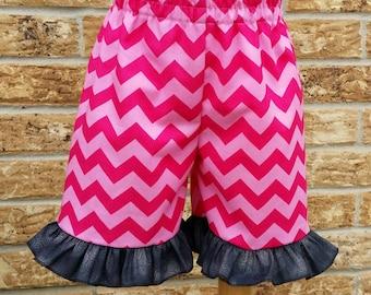 Pink chevron ruffle shorts