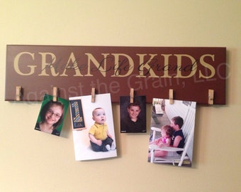 Grandkids make life grand primitive wooden wall picture-photo holder,perfect gift for grandparents to show off their family