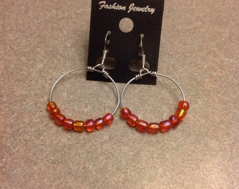 New Hand made orange hoop beaded earrings fashion jewelry