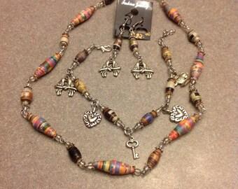 Necklace, earrings and bracelet set New Handmade
