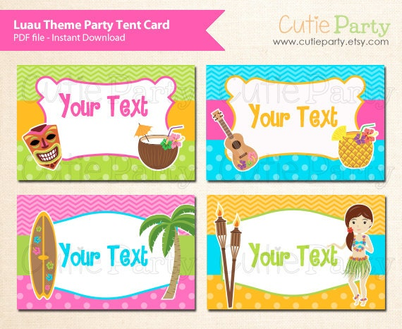 Luau Theme Party Editable Party Printable, Hawaii Party tent card ...