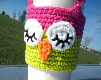 Sleep Owl Coffee Cozy Crochet Pattern