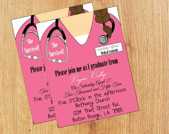 Nurse graduation invitation | Etsy